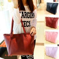 KE_ Am_ Women Faux Leather Handbag Solid Color Tote Bag Zipper Big Shoulder Ba