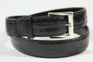 Genuine Black Alligator Leather Belt with Sterling Silver Buckle (Made in U.S.A)