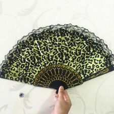 green Leopard design Print Fabric Folding Hand Fan black lace trim ~