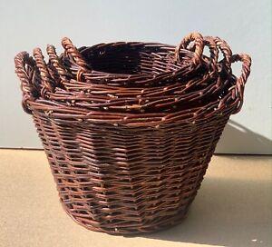 Handmade Round Basket With Handles Dark Brown Storage Planter Fireside Logs