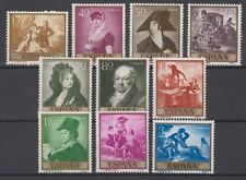 SPAIN (1958) MNH NEW FREE STAMP HINGES EDIFIL 1210/19 Sc# 867/76 PAINTINGS GOYA