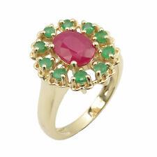 14k Yellow Gold Emerald Ruby Ring