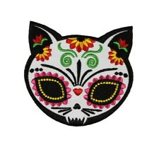 Sugar Skull Cat Patch Artist Evilkid Dead Festival Embroidered Iron On Applique