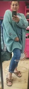 RESTOCKED! Duck Egg Blue Soft Mohair blend knitted Slouch Star Cardi O/size10-22
