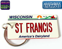 Personalized Wisconsin State License Plate Keychain Tag - Any Name Souvenir USA