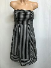 WAREHOUSE SIZE 10 BLACK AND WHITE STRIPED COTTON BLEND STRAPLESS  DRESS