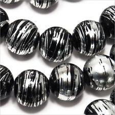 Lot de 20 perles en verre Décorées 12mm Noir et Argent