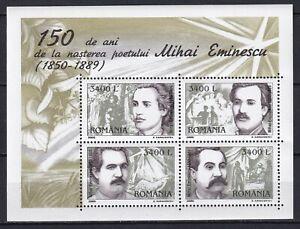 Romania 2000 Famous People Mihai Eminescu MNH Block