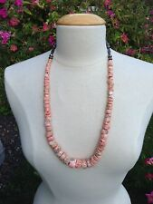 VINTAGE CORAL STERLING SILVER BEAD NECKLACE