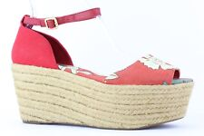 Tory Burch Women's Red Floral Print 'Elodie Sherri' Wedge Espadrille Size 10M