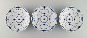 Three antique Royal Copenhagen Blue Fluted Full Lace bowls. Early 19th century.