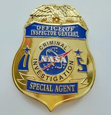 NASA US GOLD METAL HAT BADGE SPECIAL AGENT COSPLAY BROOCH COLLECTION BADGE PIN