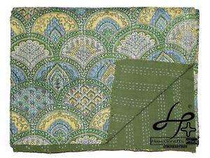 Twin Size Kantha Quilt Cotton Indian Bedspread Hippie Gudari Handmade Bedsheet