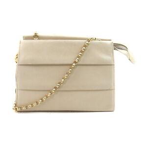 Ferragamo Shoulder Bag Chain Fringe Beiges Leather 2403532
