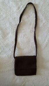 "SMALL THE SAK BROWN CROCHET CROSS BODY SHOULDER BAG,7""X6"",FLAP,LINED,ZIP CLOSE"