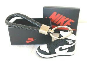 3D Nike Air Jordan Basketball Keyring - Shoe & Strap Optional Gift Box Blk/White