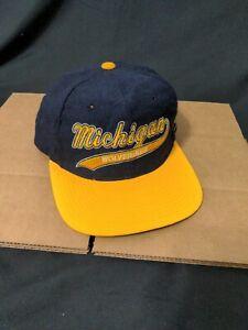 Vintage NOS Michigan Wolverines Starter Script Snapback Hat Cap 90s