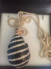 Rhinestone Black and Crystal Egg Necklace, Boxed and Chain included, Beautiful