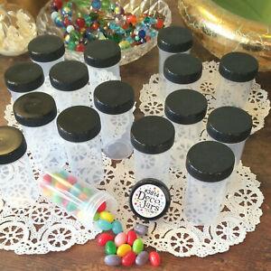 10 Clear Plastic Pill Bottles JARS Screw on Black Caps Container 3814 DecoJars *