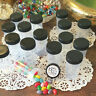 12 Clear Plastic Pill Bottles JARS Screw on Black Caps Container 3814 DecoJars *