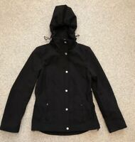 G H Bass Black Softshell Hooded Jacket. Ladies Size XS (UK 8-10)