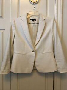 Ann Taylor Jacket Blazer Ivory 3/4 Sleeves Size 2 EUC