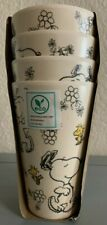 Peanuts Snoopy Spring Bamboo Cup Set 4 Tumbler Floral Flowers Spring Woodstock