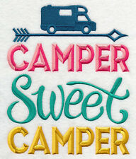 CAMPER SWEET CAMPER SET OF 2 BATH HAND TOWELS EMBROIDERED BY LAURA