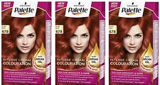 Schwarzkopf Palette Colours 678 Ruby Red Intensive Cream Hair Coulouring Dye X3