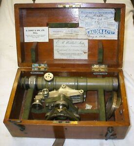 ORIGINAL SURVEYORS LEVEL IN CASE> THEODOLITE TYPE BY E R WATTS & SONS
