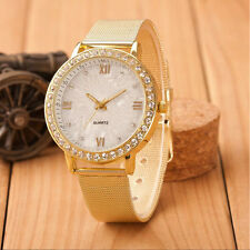 Luxury Women Ladies Crystal Roman Watches Gold Mesh Band Quartz Wrist Watch New