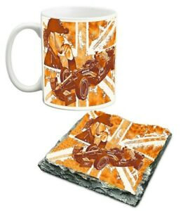 10 oz Lewis Hamilton porcelain mug and slate coaster set