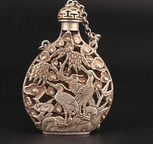 RARE CHINA TIBET SILVER PENDANT SNUFF BOTTLE HOLLOWED OUT CRANE MASCOT GIFT as9