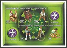 CENTRAL AFRICA 1996 BOY SCOUTS CATS DOGS BICYCLE HORSES M/SHEET MNH