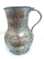 Antique Hand Hammered Solid Copper Pitcher Engraved 1897 Silver Plated