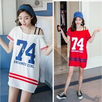 Korean Fashion Off-Shoulder Number Print Loose Casual Summer Sexy T-Shirt Dress