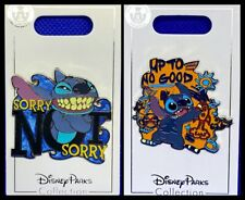 Disney Parks 2 Pin lot STITCH Sorry not Sorry + Up to no Good - New
