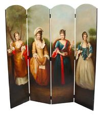 BAROQUE STYLE FOUR PANEL FOLDING PARAVENT WITH FOUR WOMEN  #425KS52