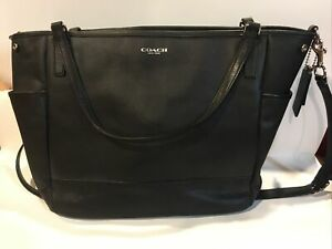 Coach Saffiano Leather Baby Diaper Multifunction Bag Tote Black 2014 Used