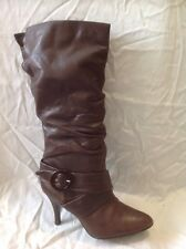 Next Brown Mid Calf Leather Boots Size 38