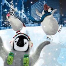 Ice Skating Penguins Googlies Christmas Card Tracks Wobbly Eyes Greeting Cards