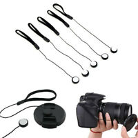 Camera Lens Cover Cap Keeper Holder Strap Cord Lanyard String Rope Black 1 Pcs