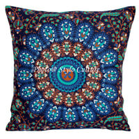 Indian Cotton Sofa Outdoor Cushions  16 x 16 Inch Printed Mandala Pillow Covers