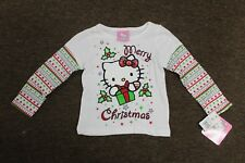 2T HELLO KITTY CHRISTMAS Girls Long-sleeve T-Shirt Sanrio Clothing Top Tee NEW
