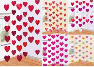 Valentines Day 6 Hanging Red Pink Love Heart Party Strings Engagement Decoration