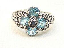 Estate Vintage Sterling Silver CNA Signed Blue Topaz & Sapphire Filigree Ring