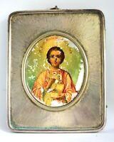 Antique ST PANTALEON 84 Silver Riza Moscow Kokoshnik Russia Religious MOP Icon