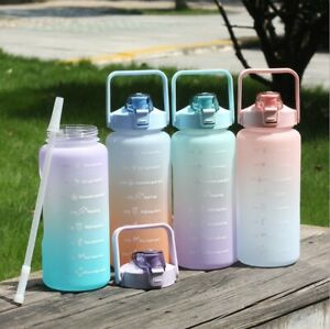 2L Large Water Bottle Straw Time Gradient Cup Fitness Jugs Sport Gym Training