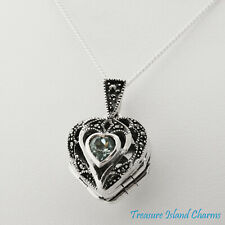 Heart 3-Photo Locket Marcasite and Blue CZ 925 Sterling Silver Pendant Necklace