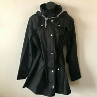 Rain Jacket Drawstring Lined Hood Waterproof Windbreaker Kikibell Women XL NWOT